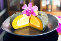Egg Custard In Pumpkin, Pumpkin Custard,Thai Dessert. Stock Image