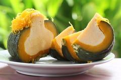Egg Custard in the pumpkin Stock Photography