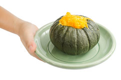Egg custard in pumpkin Stock Photography