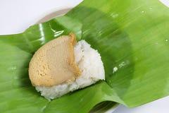 Egg custard with sweet sticky rice Stock Image
