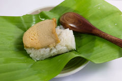 Egg custard with sweet sticky rice Stock Photos