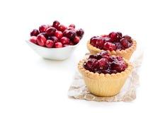 Egg Custard Tarts With Cranberry Jam Isolated On White Royalty Free Stock Image