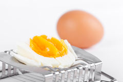 Egg on cutter Royalty Free Stock Image