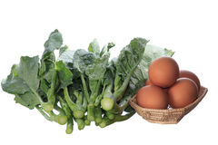 Egg and dark green leafy Stock Images