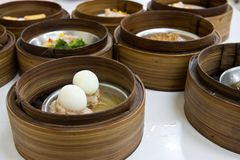 Egg Dimsum in bamboo container closed up Stock Image