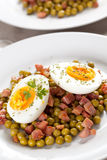 Egg dish with ham and peas Royalty Free Stock Photos