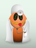 Egg doctor in scrubs. Egg doctor in scrubs with stethoscope and thermometer in the pocket Stock Photography