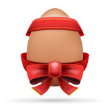 Egg dressed in festive red ribbon with bow. Easter theme vector illustration isolated on white Stock Images