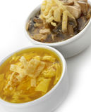 Egg Drop And Hot and Sour Soups Stock Photo
