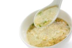 Egg drop soup , egg flower soup Royalty Free Stock Images