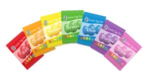 Free Egg Dyes Sachets Colorful Easter Egg Rainbow Packets Stock Photo - 208625670