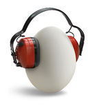 Egg with ear protection Stock Photography