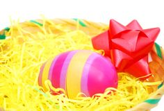 An egg easter in holiday. A single egg easter in basket Royalty Free Stock Images
