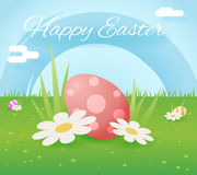 Egg easter icon sky grass background template flat moble apps design vector illustration Stock Image