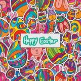 Egg Easter sticker seamless pattern Stock Image