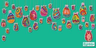 Egg Easter stikcer hanging card template Stock Photos