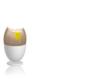 Egg in egg cup. Broken egg in egg cup with dripping yoke Stock Images