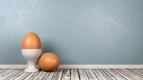 Egg and Egg Cup on Wooden Floor Against Wall. White Egg Cup with Egg on Wooden Floor Against Blue Gray Wall with Copy Space 3D Illustration stock illustration
