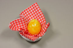 Egg in eggcup. On red white checkered napkin Royalty Free Stock Photography