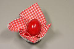 Egg in eggcup. On red white checkered napkin Stock Image