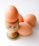 Egg on eggcup Stock Images
