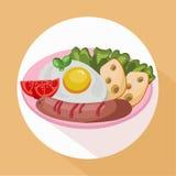 Egg el queso sabroso fresco de la comida del desayuno sano, salchicha, vector de los tomates Foto de archivo libre de regalías