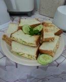 Egg el sandwitch de la tostada de la ensalada con la menta y el cucmber Imagen de archivo