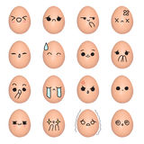 Egg emoticon - face action cartoon cute to draw the line Royalty Free Stock Photo