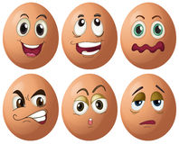Egg expressions. Illustration of egg with expressions royalty free illustration
