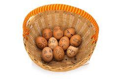 Egg face in basket. orphaned. dumped.  Royalty Free Stock Photo