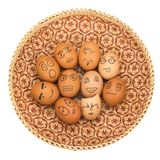 Egg face in basket. orphaned. dumped.  Stock Photos