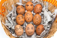 Egg face in basket. newspapers. orphaned. dumped. Egg face in basket. orphaned. dumped Royalty Free Stock Image