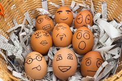 Egg face in basket. newspapers. orphaned. dumped. Egg face in basket. orphaned. dumped Royalty Free Stock Photo