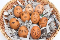 Egg face in basket. newspapers. orphaned. dumped. Egg face in basket. orphaned. dumped Stock Image
