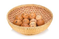 Egg face in basket. orphaned. dumped.  Stock Photography