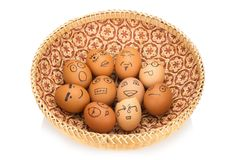 Egg face in basket. orphaned. dumped.  Royalty Free Stock Images