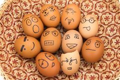 Egg face in basket. orphaned. dumped.  Stock Image