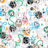 Egg face fun not fun sorry seamless pattern. This illustration is design wrapping paper sorry with egg shape cry in seamless pattern and abstract colorful royalty free stock photos