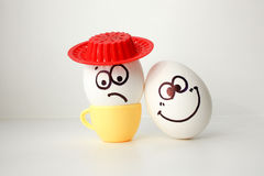 An egg with a face. Funny and sweet. SAD IN THE HAT Royalty Free Stock Photos