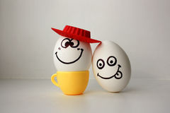 An egg with a face. Funny and sweet. SAD IN THE HAT Stock Photos