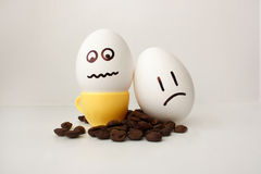 An egg with a face. Funny and sweet. TWO EGGS. Stock Image
