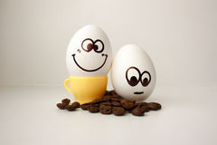 An egg with a face. Funny and sweet. TWO EGGS. Stock Photo