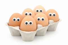 Egg face. Six eggs in a box with googly eyes on white background Royalty Free Stock Photo
