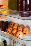 Egg faces with emotions stock photos