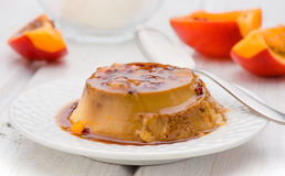 Egg flan with with passion fruit stock photos