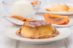 Egg flan with with passion fruit royalty free stock images
