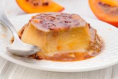 Egg flan with with passion fruit royalty free stock photography