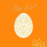 Egg floral ornament. Ornamental egg. Handwritten Happy Easter. Easter card with yellow tulips, orange background, floral ornament in the form of eggs Stock Photography