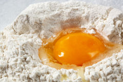 Egg in Flour Royalty Free Stock Photography