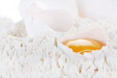 Egg with flour Royalty Free Stock Photos